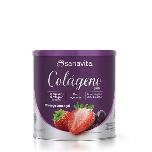 Colágeno Skin Sanavita Sabor Morango e Açaí 300g