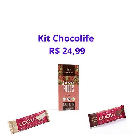 KIT CHOCOLIFE 1LOOV AO LEITE COCO + 1 LOOV BRANCO+ 1 TABLETE SUPER FOODS