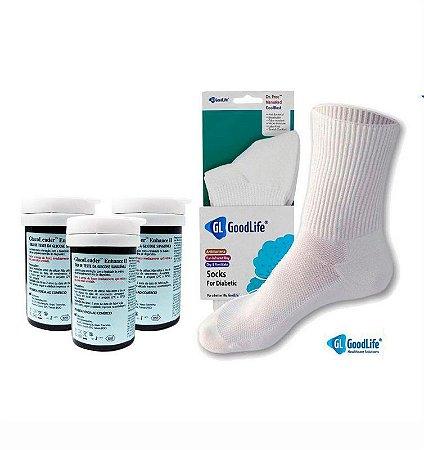 3 Frascos De Tiras Reagentes + 1 Par De Meia Para Diabéticos