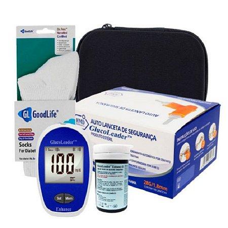 1 Medidor de Glicose + 1 Frasco Tiras GlucoLeader + 1 Par De Meia GoodLife + Lanceta de Segurança 28g + Estojo