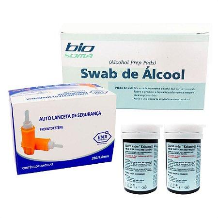 Álcool Swabs + 2 Frascos De Tiras + Lanceta De Segurança.
