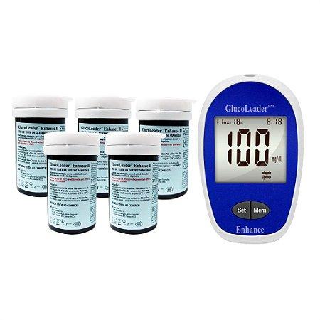 5 Frascos de Tiras Reagentes + 1 Medidor de Glicose GlucoLeader