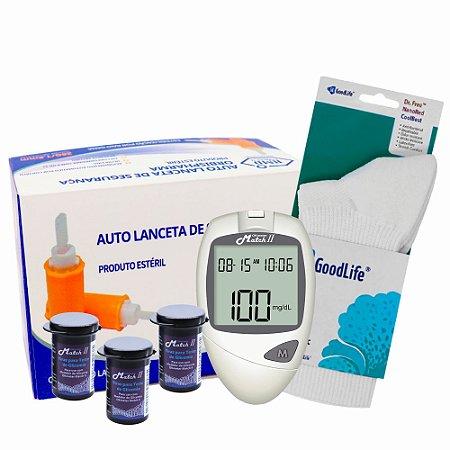 1 Medidor de Glicose + 3 Frascos De Tiras Match II Ok Meter + Lancetas De Segurança GlucoLeader + 1 Par de Meia Diabéticos