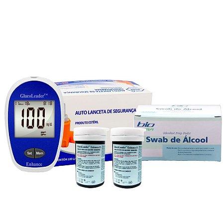 1 Medidor Gl + 2 Frascos De Tiras Gl + Lancetas De Segurança + Álcool Swabs