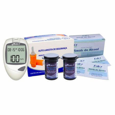 1 Medidor de Glicose + 2 Frascos se Tiras Macth II Ok Meter c/ 50un cada + Lancetas De Segurança c/ 100un + Álcool Swabs