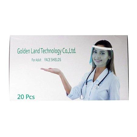 Caixa de Máscara de Proteção Facial Face Shields Golden Land Ante-Embaçante c/ 20 unidades