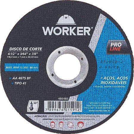 DISCO CORTE FINO INOX 4.1/2X1MMX22 WORKER