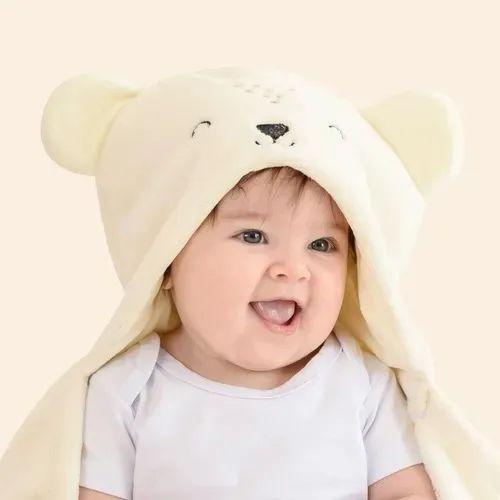 Manta Cobertor Com Capuz Microfibra Ursinho Bege