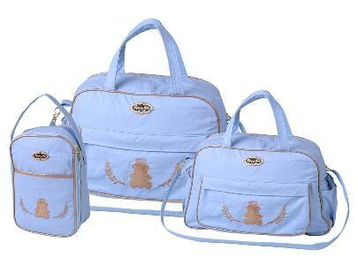 Kit 3 Bolsas Mala Saída Maternidade Espera Feliz  Azul Claro Menino Promoção