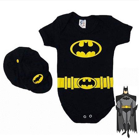 Kit Body Bebê Batman Com Boina