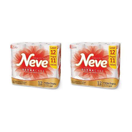 Kit Com 2 Pacotes Papel Higiênico Neve Toque De Seda Leve 12 Pague 11 Atacado