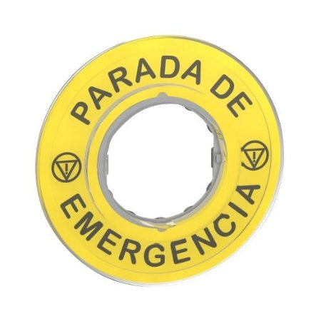 "ETIQUETA P/BOTAO CIRCULAR 60MM C/GRAV. ""PARADA EMERGENCIA"""