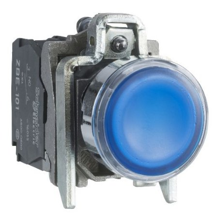 BOTAO COMANDO 22MM METAL. LUMINOSO LED 220/240VAC 1NA+1NF AZ