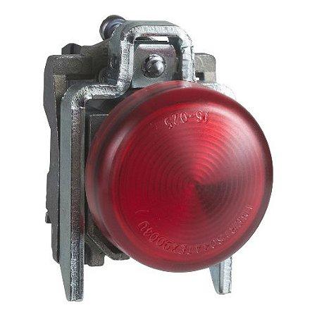 SINALEIRO METAL 22MM REDONDO C/LAMP. BA9S C/ALIM. DIRETA ATE 250V VM