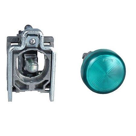 SINALEIRO METAL 22MM REDONDO C/LAMP. BA9S C/ALIM. DIRETA ATE 250V VD