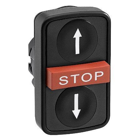 """FRONTAL BOTAO 22MM PLAST. TRIPLO GRAV. """"SETAS"""" """"STOP"""" PT/BC"""