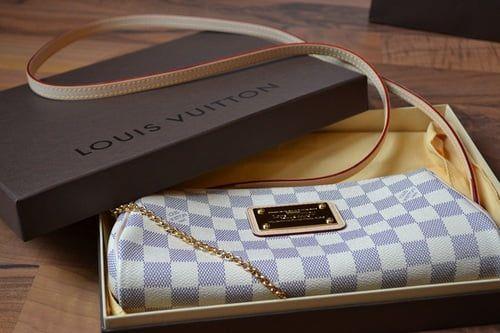 Bolsa Louis Vuitton Eva Clutch Damier Azur