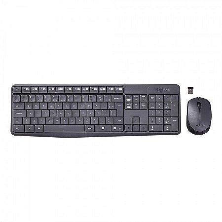 Kit teclado e Mouse Logitech MK235 sem fio preto