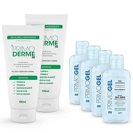 Combo Hidratação e Proteção: 2 Hidratantes Primoderme 100ml + 4 Primogel 60ml