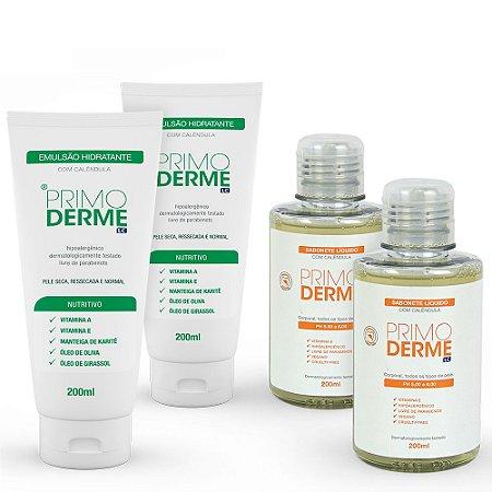 Combo Limpeza e Hidratação: 2 sabonete líquido corporal Primoderme 200ml + 2 hidratantes Primoderme 200ml