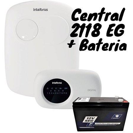 Kit Central de Alarme AMT 2118 EG e Bateria 12V