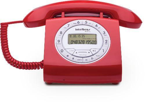 Telefone Retro Intelbras Com Fio Vermelho Tc8312 Viva Voz