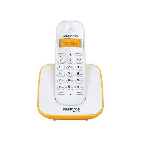 Telefone sem fio intelbras TS 3110 Branco e Amarelo Bina Display Luminoso Até 7 Ramais Agenda