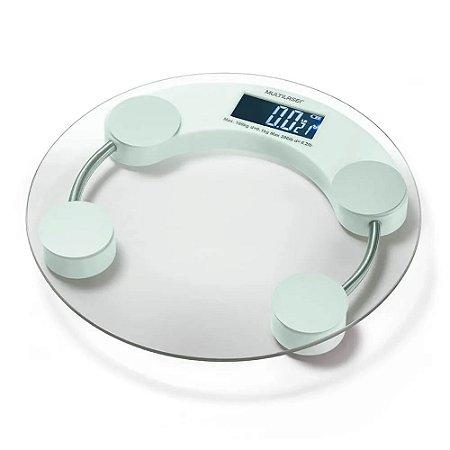 Balança digital banheiro  EatSmart redonda transparente  HC039 Multilaser