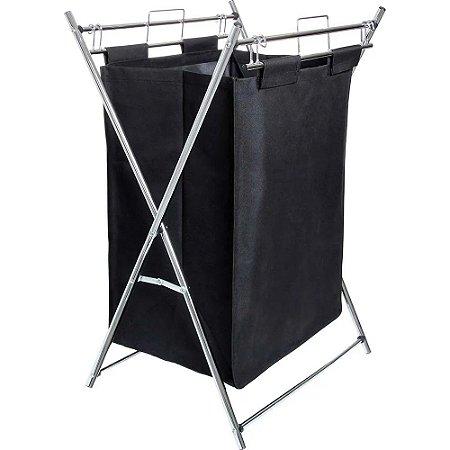 Cesto de roupa suja dobrável Aço cromado 12 kg MOR com alça