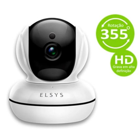 Câmeras de segurança Elsys WR2 Interna  Wi-fi Infra. Microfone e Alto Falante, APP, Rotação 355°