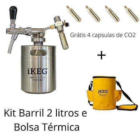 Kit chopeira inox e bolsa térmica de 2 litros iKeg – Grátis 4 Capsulas de CO2