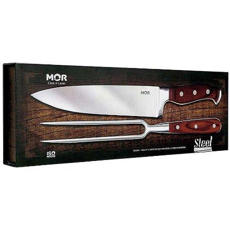 "Conjunto kit jogo de faca e garfo churrasco Inox 8"" Mor"