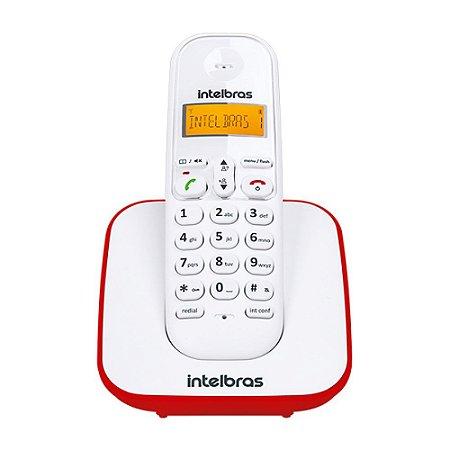 Telefone Sem Fio Intelbras TS 3110 Branco e Vermelho Bina