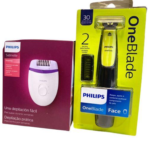 Kit Barbeador e Depilador Philips One Blade Qp2510 e BRE225-00