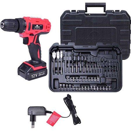 Parafusadeira Bateria Reversível 12V Worker + Kit 50 Peças