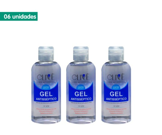 Kit Gel Antisséptico 70% Clivê 60ml (6 unidades)