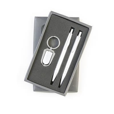 caneta e lapiseirae chaveiro giratorio
