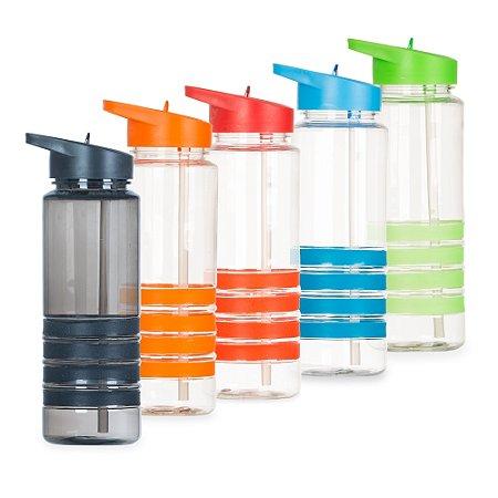 Squeeze Plástico Color 750ml com Bico, Tampa e Canudo Promocional