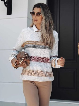Blusa de tricot listrada fio mousse