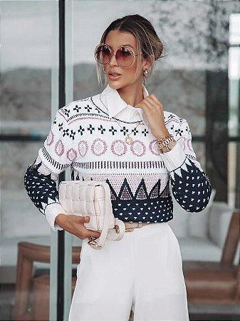 Blusa de tricot estampa etnica
