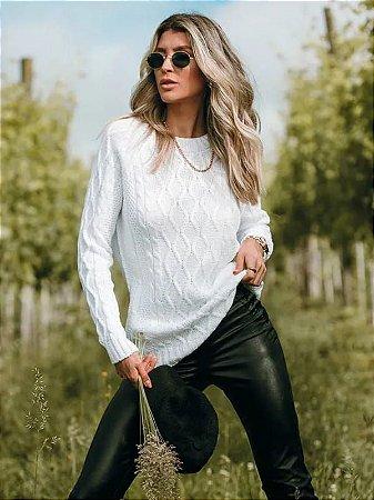 Blusa de tricot losangos off white