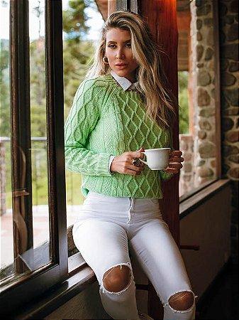 Blusa de tricot mullet losangos verde claro