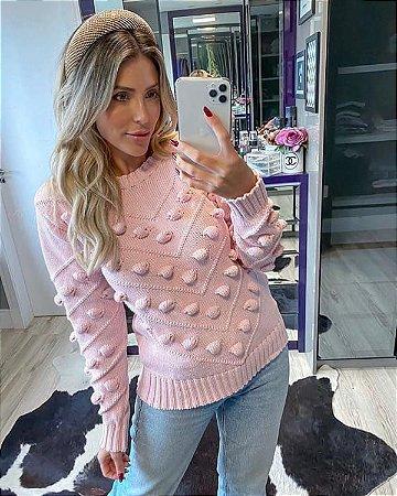 Blusa de tricot com detalhes em pompom