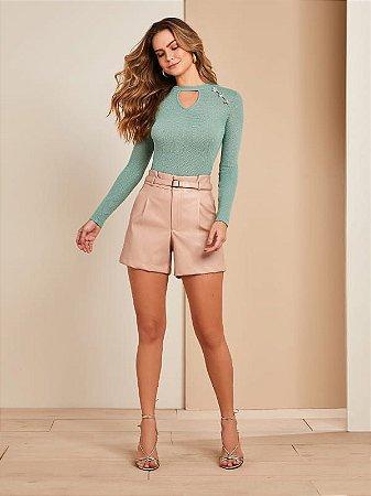 Blusa feminina manga longa de malha com botões
