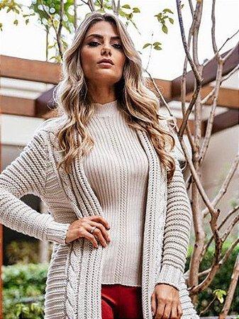 Casaco de tricot maxi