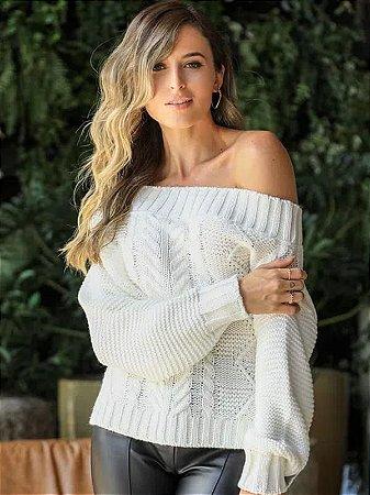 Blusa de tricot cropped ombro a ombro