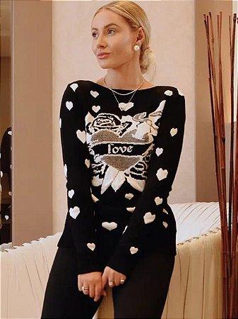 Blusa de tricot corações