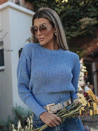 Blusa de tricot com prega na manga