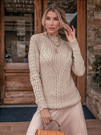 Blusa de tricot com trança ponto arroz