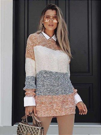 Blusa de tricot maxipull
